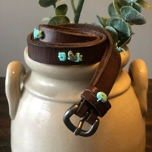 🌵Brown Belt with Turquoise Stones